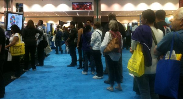 People waiting for trade show booth game